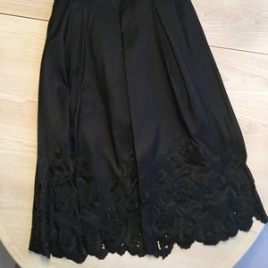 Talbots floor length black silk lace skirt